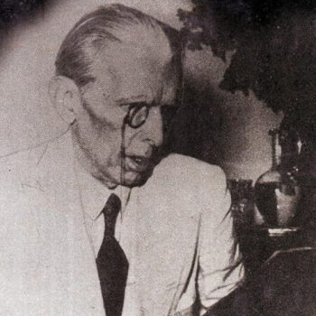 Quaid-e-Azam recording his speech from All India Radio, Delhi